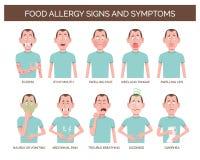 Muestras y síntomas de la alergia alimentaria Imágenes de archivo libres de regalías