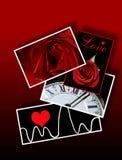 Muestras y símbolos del amor, tarjetas del día de San Valentín, romance Fotos de archivo libres de regalías