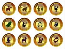 Muestras zodiacales fijadas Imagen de archivo libre de regalías