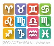 Muestras zodiacales fijadas - horóscopos Foto de archivo libre de regalías