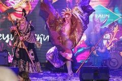 Muestre al ilusionista veneciano Raman Soup Borsch del mago del carnaval Foto de archivo libre de regalías