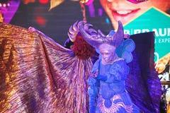 Muestre al ilusionista veneciano Raman Soup Borsch del mago del carnaval Fotos de archivo libres de regalías