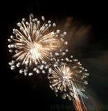 muestre con los fuegos artificiales coloridos en la noche oscura Fotos de archivo