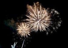 muestre con los fuegos artificiales coloridos grandes en la noche oscura Imagenes de archivo