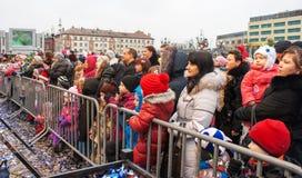 Muestre en la plaza durante la celebración del Año Nuevo Fotos de archivo libres de regalías