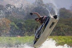 Muestre a estilo libre la acción del truco del esquí del jet Imagen de archivo