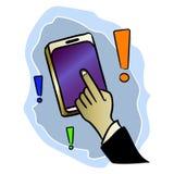 Muestre la respuesta con su finger en el teléfono móvil en el uso Engrana el icono libre illustration