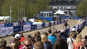 Muestre los trotones corrientes durante los caballos públicos del festival de la ciudad en el parque Kaivopuisto almacen de video