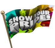Muestre que su Pride Words Stars Flag Pole celebra fuerzas Imagen de archivo libre de regalías