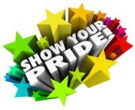 Muestre que su Pride Words Stars Proud Feelings celebra ego fuerte stock de ilustración