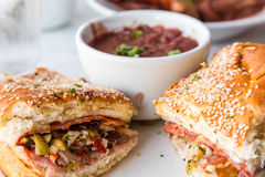 Muffalatta Sandwich with Cup of Red Beans Royalty Free Stock Image