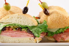 Muffaletta finger food sandwich. Delicious fresh sandwich made with fine meats and muffaletta topping Stock Photo