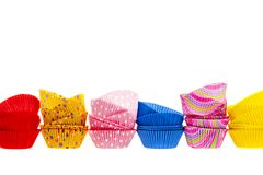 Muffin ή cupcake ψησίματος φλυτζάνια Στοκ Φωτογραφία