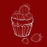 Muffin βανίλιας με τις φράουλες ελεύθερη απεικόνιση δικαιώματος