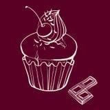 Muffin κερασιών με την κτυπημένη κρέμα διανυσματική απεικόνιση