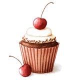 Muffin κερασιών Watercolor Στοκ Εικόνα