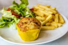 Muffin μπέϊκον τυριών Στοκ Εικόνες