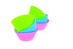 muffin πολύχρωμη σιλικόνη έξι παν&o στοκ φωτογραφία