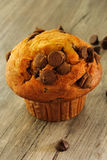 Muffin τσιπ σοκολάτας στο ξύλινο υπόβαθρο Στοκ Φωτογραφίες