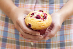 Muffin των βακκίνιων στα χέρια της γυναίκας Στοκ Εικόνες