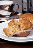 Muffin. Fresh baked pear and ginger muffins with coffee perfect for breakfast or a snack royalty free stock photos
