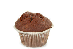 Muffin. Isolated chocolate muffin on white background Stock Photos