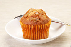 Muffin. Delicious muffin on gray background Stock Images