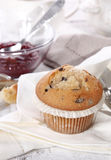 Muffin. Tasty chocolate muffin with jam Royalty Free Stock Photos