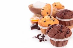 Muffin. Chocolate muffin with ingredient on white Stock Photo