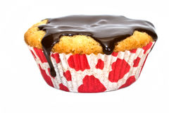 Muffin. Chocolate decants, white background isolate Stock Photos