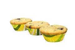 Muffin. Three muffin series white background isolate royalty free stock images