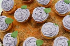 Muffin ai mirtilli - con una foglia verde Immagine Stock