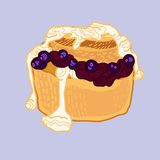 Muffin ai mirtilli di vettore con inceppamento Fotografia Stock Libera da Diritti