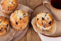 Muffin ai mirtilli e tazza di caffè Fotografia Stock