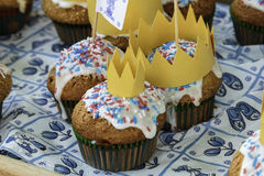 Muffin al forno freschi della regina & di re Fotografia Stock Libera da Diritti
