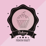 Muffin bakery related emblem image Stock Image