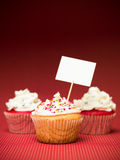 Muffin with banner Royalty Free Stock Images