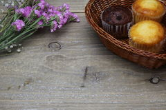 Muffin in a basket with dried flower Stock Photography
