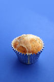 Muffin on Blue 01. A muffin on blue background royalty free stock images