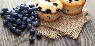 Muffin with blueberries on a wooden table. fresh berries and swe. Et pastries on the board stock photo