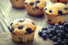 Muffin with blueberries on a wooden table. fresh berries and swe Stock Photo
