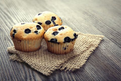 Muffin with blueberries on a wooden table. fresh berries and swe Royalty Free Stock Images
