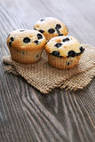 Muffin with blueberries on a wooden table. sweet pastries on the Stock Photo