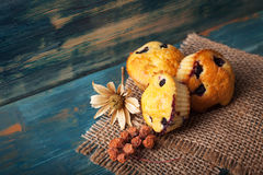 Muffin with blueberries on a wooden table. sweet pastries on the Royalty Free Stock Photo