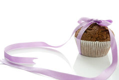 Muffin with a bow stock photos