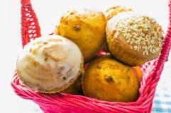 Muffin, cake, Cupcake in a basket. Stock Photos