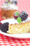 Muffin , cake with icing and berries Stock Images
