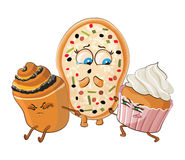 Muffin and Cake offend pizza. Vector illustration. Royalty Free Stock Image