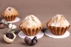 Muffin cakes on a Beige - coffee background. Royalty Free Stock Images