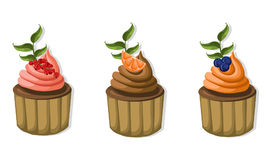 Muffin cakes isolated on white background Vector illustration. S Royalty Free Stock Image